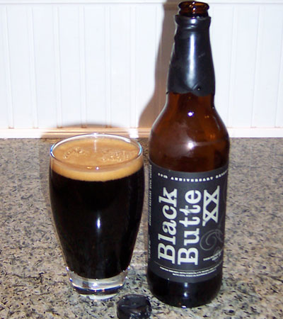 Bottle and fresh glass of Deschutes Brewing 2008 Black Butte XX