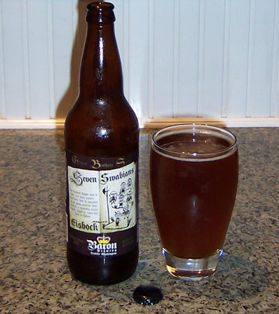 Bottle and fresh glass of Baron Brewing Seven Swabians